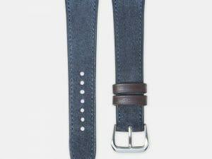 bracelet montre cuir velours bleu marine