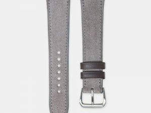 bracelet montre cuir velours gris