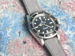 bracelet montre cuir velours gris v