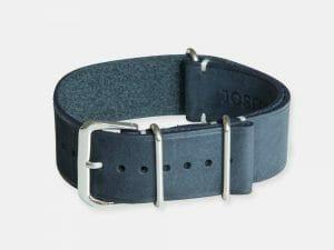 bracelet montre nato cuir nubuck bleu nuit