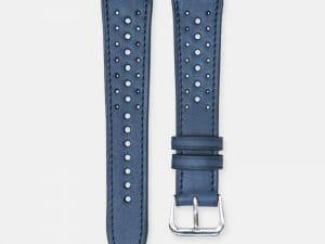 bracelet montre rallye cuir veau bleu