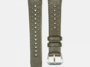 bracelet montre rallye cuir veau kakki 2