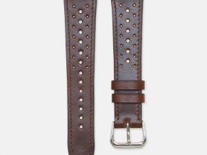 bracelet montre rallye cuir veau marron brillant ps